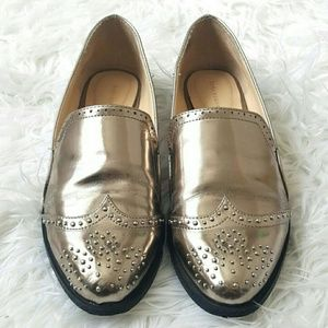 Zara Silver Metallic Wingtip Loafers Size 37 7